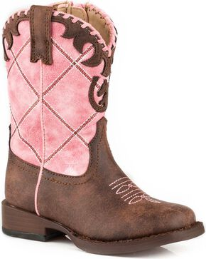 Roper Toddler Girls' Pink Diamond Stitching Boots - Square Toe , Pink, hi-res