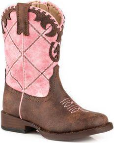 Roper Toddler Girls' Pink Diamond Stitching Boots - Square Toe , Pink, hi-res