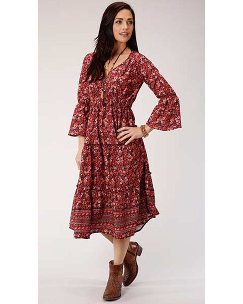 Studio West Women's Red Tiered Floral Prairie Dress , Red, hi-res