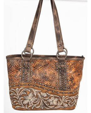 Shyanne Women's Metallic Tooled Filigree Edge Tote, Brown, hi-res