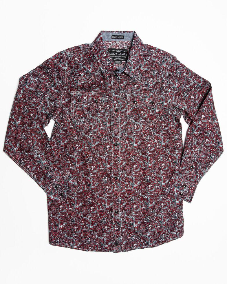 Cody James Boys' Noble Paisley Print Long Sleeve Western Shirt , Maroon, hi-res