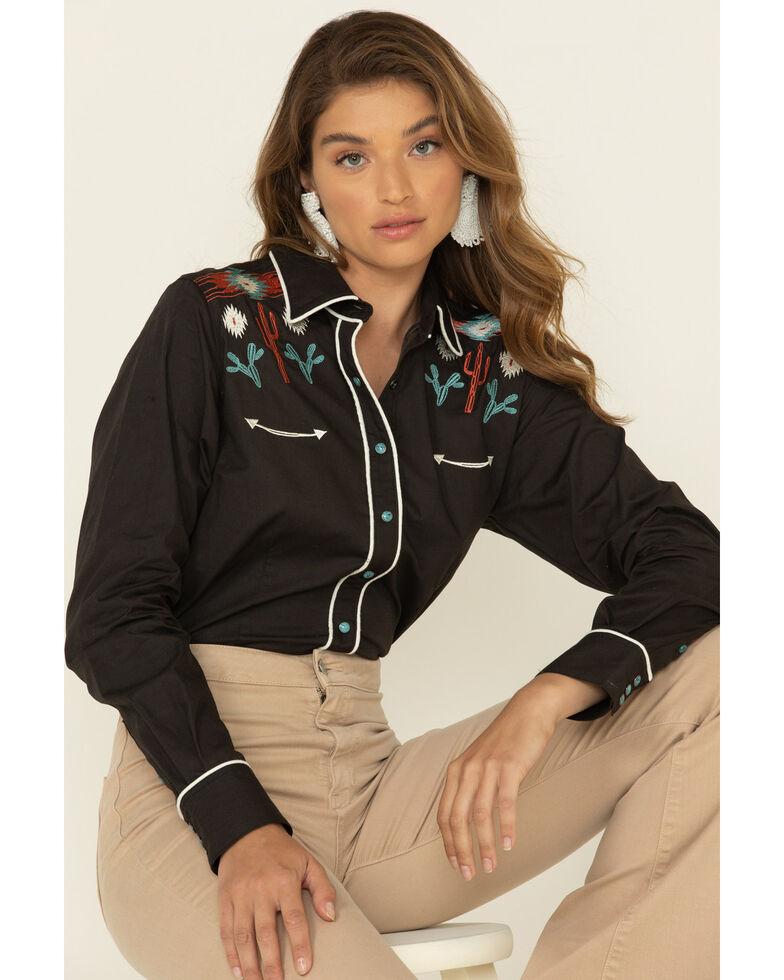 Cruel Girl Women's Black Southwest Snap Long Sleeve Western Shirt, Black, hi-res