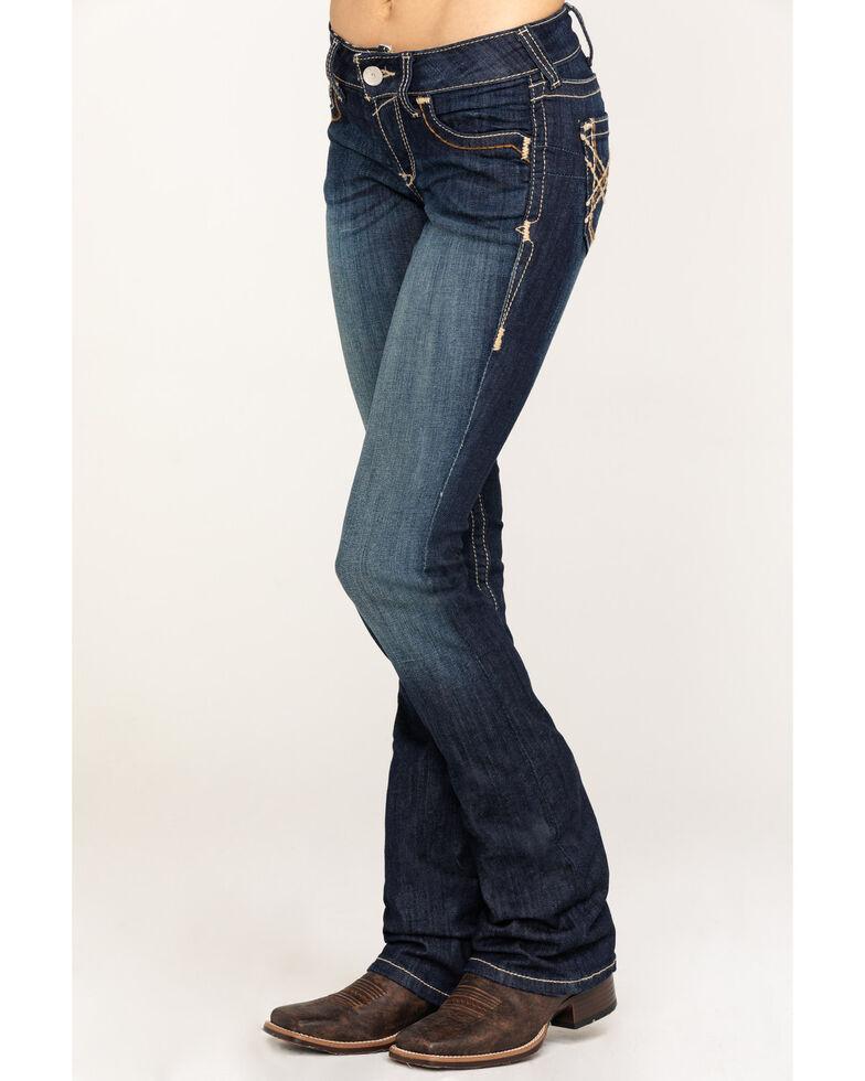 Ariat Women's R.E.A.L. Boot Cut Vine Jeans, Blue, hi-res