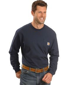 Carhartt Long Sleeve Pocket Work Shirt - Tall, Navy, hi-res
