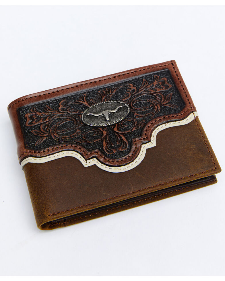 Cody James Men's Tooled Bifold Wallet, Brown, hi-res