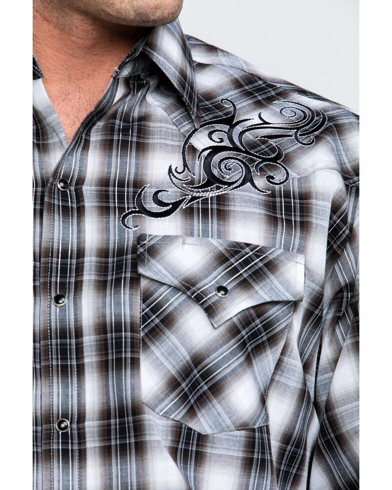 Ely Cattleman Men's Assorted Black Retro Plaid Embroidered Long Sleeve Western Shirt , Black, hi-res