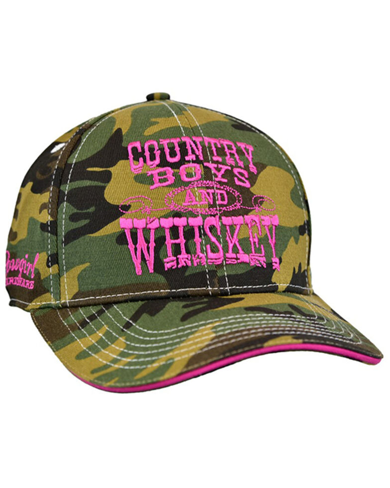 Cowgirl Hardware Women's Camo Country Boys' And Whiskey Embroidered Ball Cap , Camouflage, hi-res