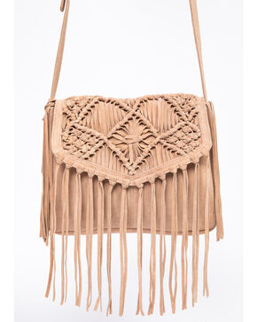 Idyllwind Women's Girls Night Out Fringe Macrame Crossbody Bag, Sand, hi-res