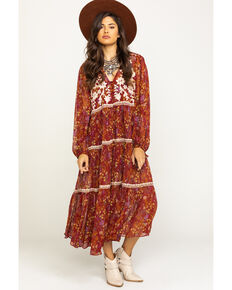 Free People Women's Call On Me Embroidered Duster Dress, Wine, hi-res