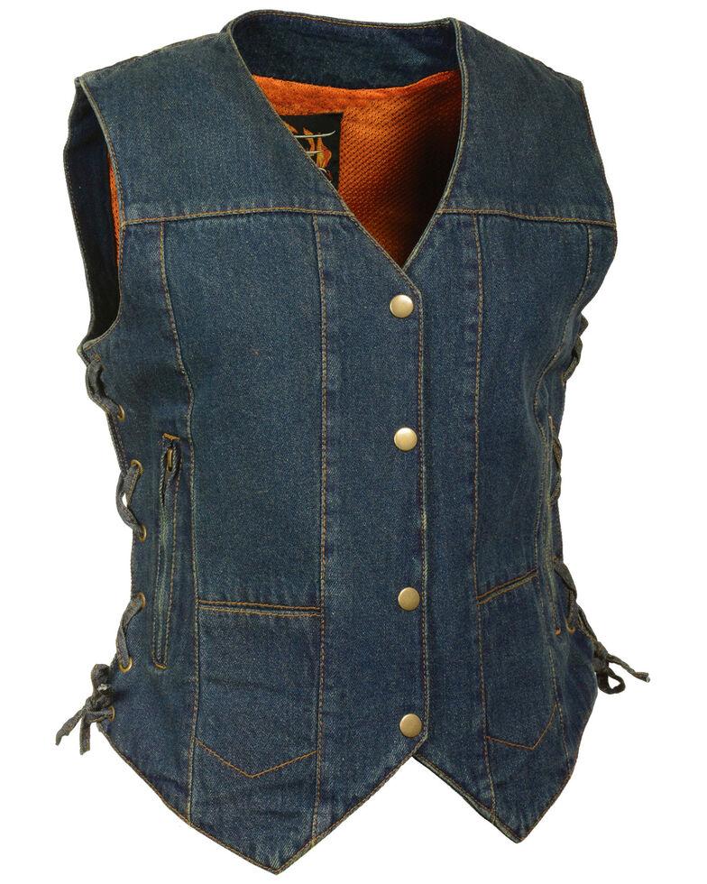 Milwaukee Leather Women's 6 Pocket Side Lace Denim Vest, Blue, hi-res