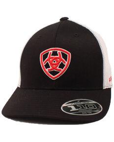 Ariat Men's Black Embroidered Shield Logo Flex Fit Mesh Cap , Black, hi-res