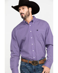 Cinch Men's Purple Geo Print Long Sleeve Western Shirt - Big, Purple, hi-res