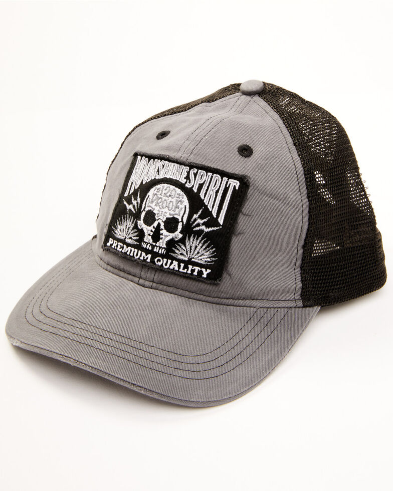 Moonshine Spirit Men's Tequila Skull Patch Mesh Back Ball Cap , Charcoal, hi-res
