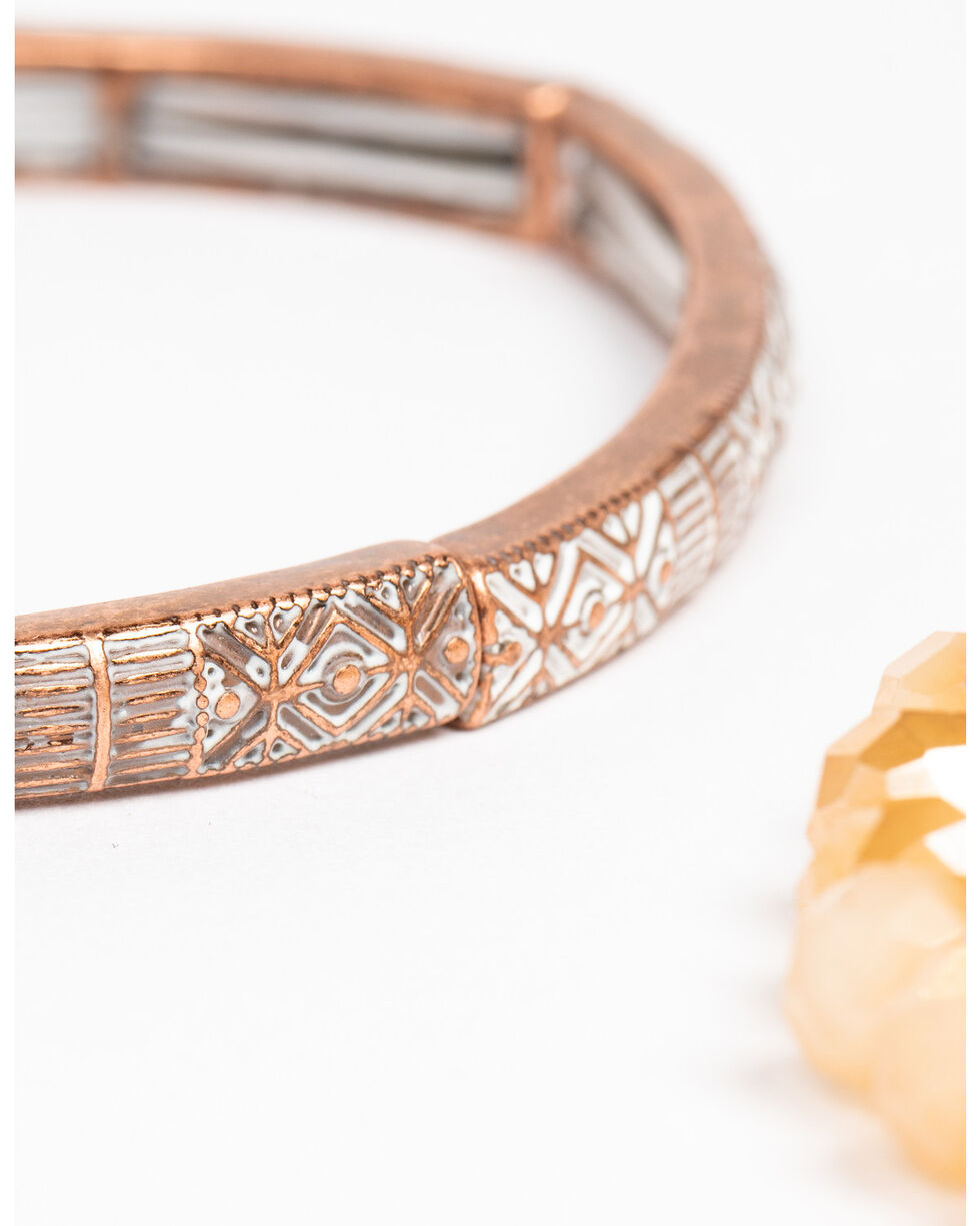 Shyanne Women's Wanderlust 4 Pack Coral Mix Stretch Bracelet Set, Tan/copper, hi-res