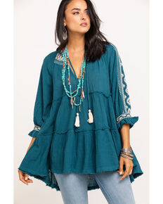 Free People Women's Dreamweaver Embroidered Tunic, Turquoise, hi-res