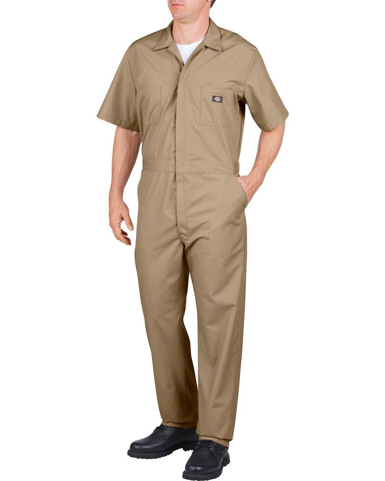 Dickies Short Sleeve Work Coveralls - Big & Tall, Khaki, hi-res