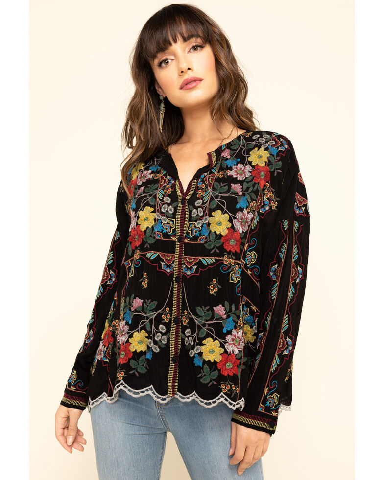 Johnny Was Women's Black Embroidered Cabo Button Front Top, Black, hi-res