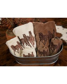 HiEnd Accents Three-Piece Embroidered Horses Bath Towel Set - Brown, Brown, hi-res
