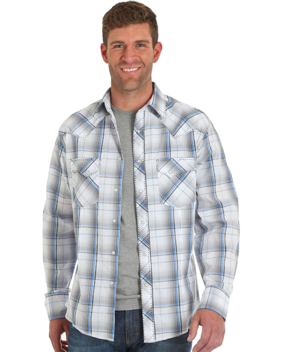 Wrangler Men's Grey Fashion Plaid Western Shirt , Grey, hi-res