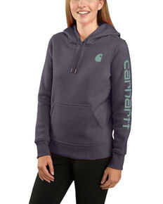 Carhartt Women's Graystone Heather Clarksburg Sleeve Logo Hooded Sweatshirt , Heather Grey, hi-res