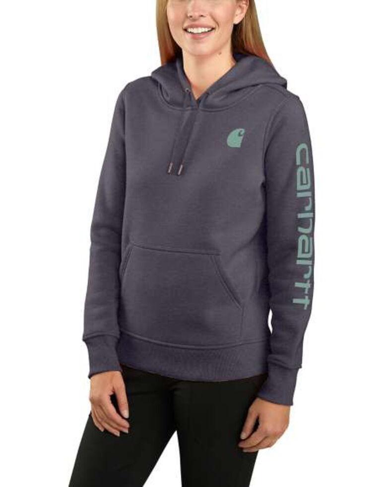 Carhartt Women's Graystone Heather Clarksburg Sleeve Logo Hooded Sweatshirt , Heather Grey, hi-res