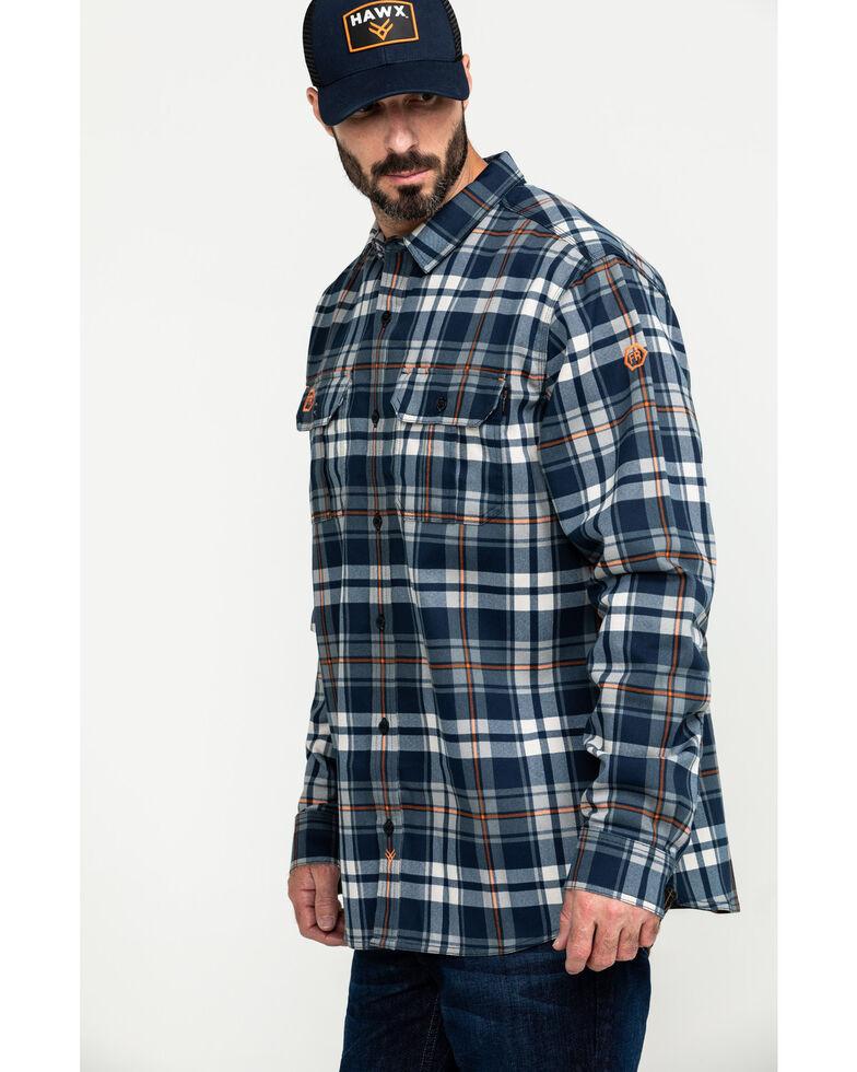 Hawx Men's Blue FR Plaid Long Sleeve Woven Work Shirt - Tall , Blue, hi-res