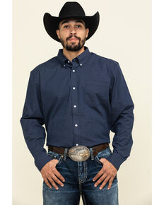 Cody James Core Men's Space Cowboy Geo Print Long Sleeve Western Shirt , Navy, hi-res