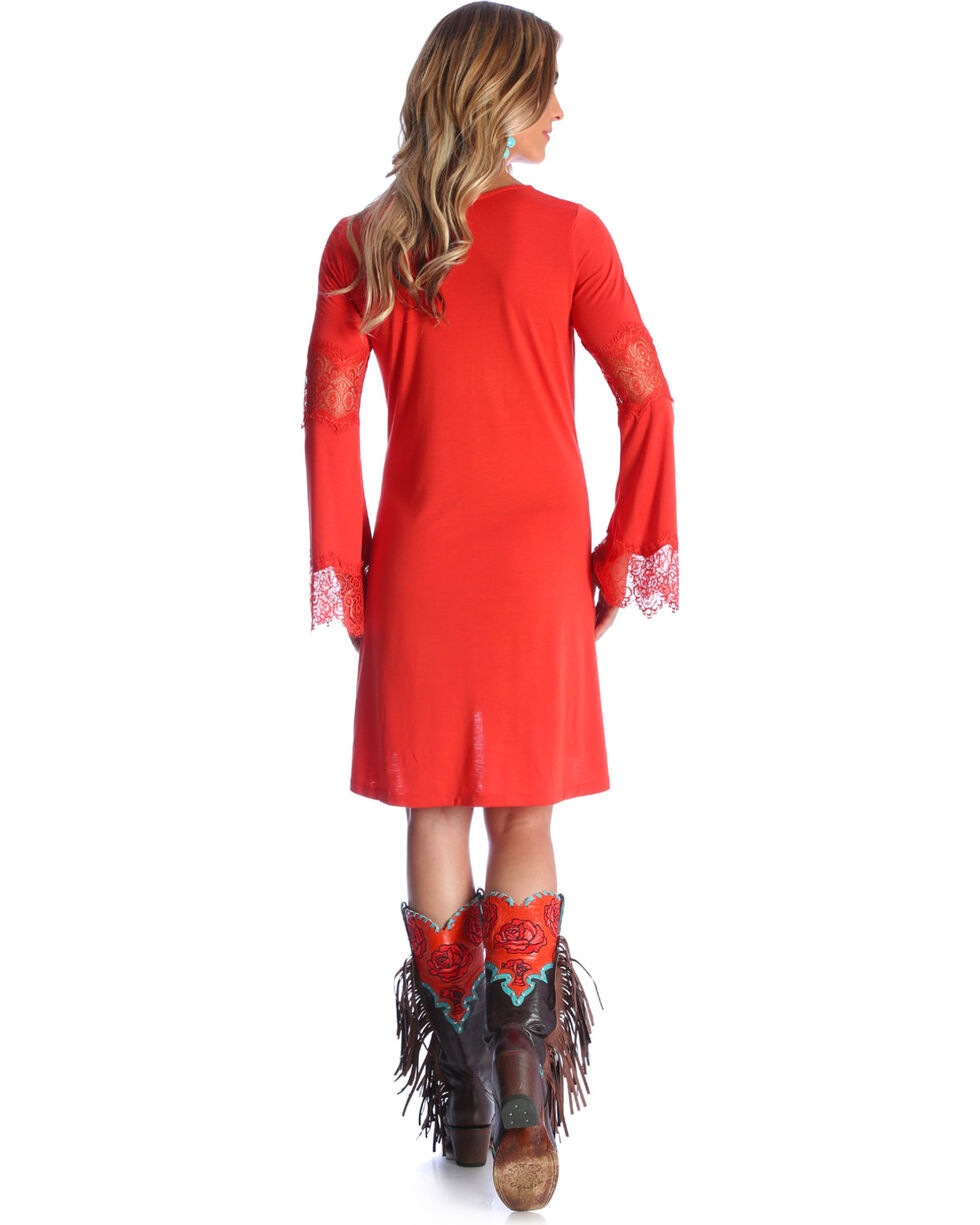 Wrangler Women's Paprika Crochet Bell Sleeve Dress , Rust Copper, hi-res