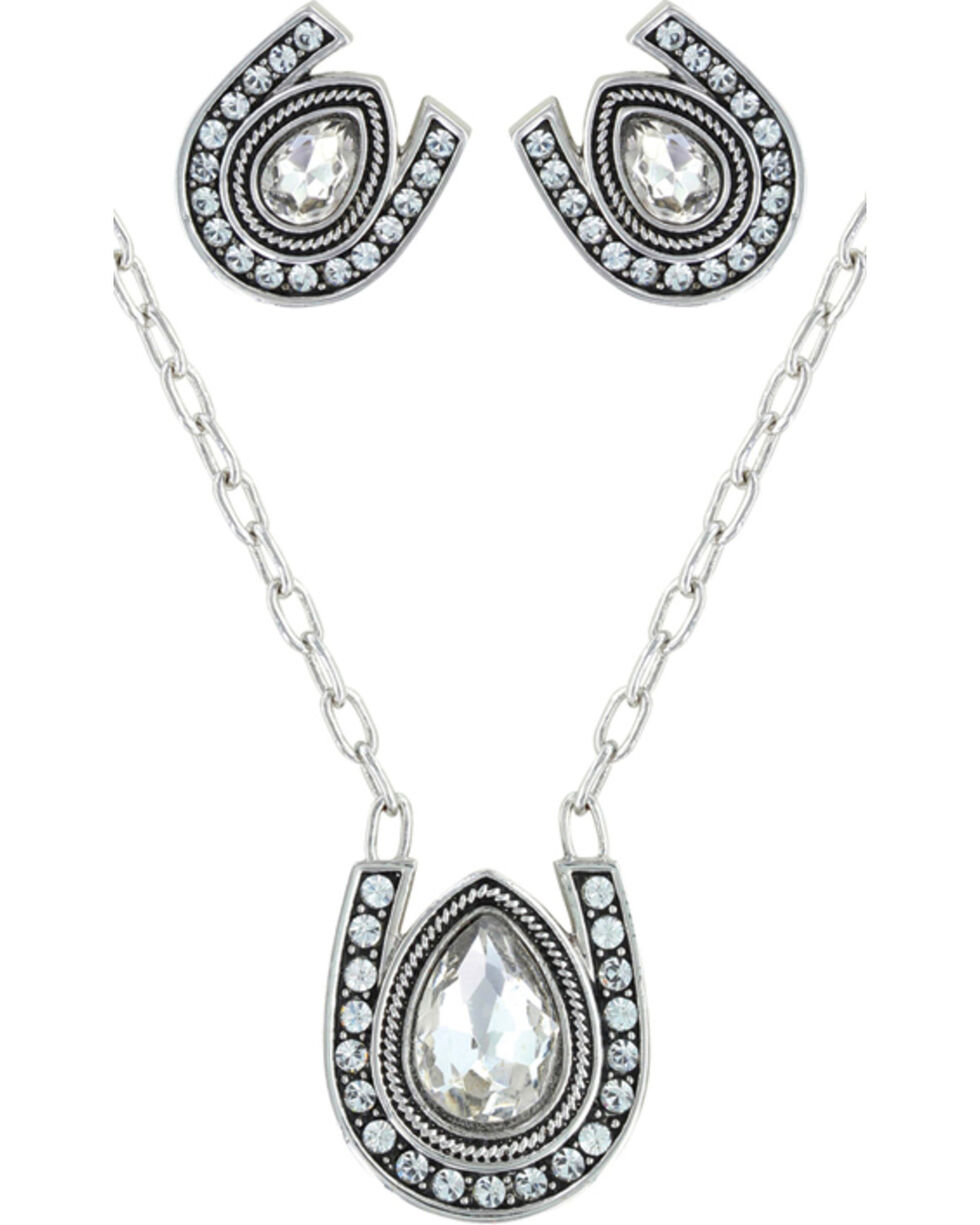 Montana Silversmiths Rider's Brilliant Raindrop Jewelry Set, Silver, hi-res