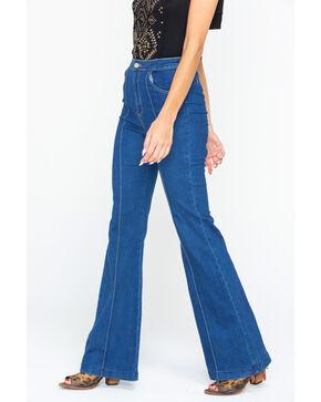 Flying Tomato Women's Flared Denim Seaming Detail Jeans, Indigo, hi-res