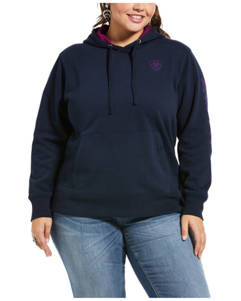 Ariat Women's Navy Eclipse R.E.A.L. Arm Logo Hoodie - Plus, Navy, hi-res