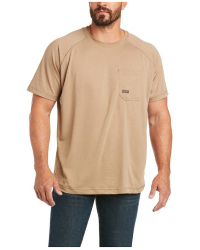 Ariat Men's Khaki Rebar Heat Fighter Short Sleeve Work Pocket T-Shirt , Beige/khaki, hi-res