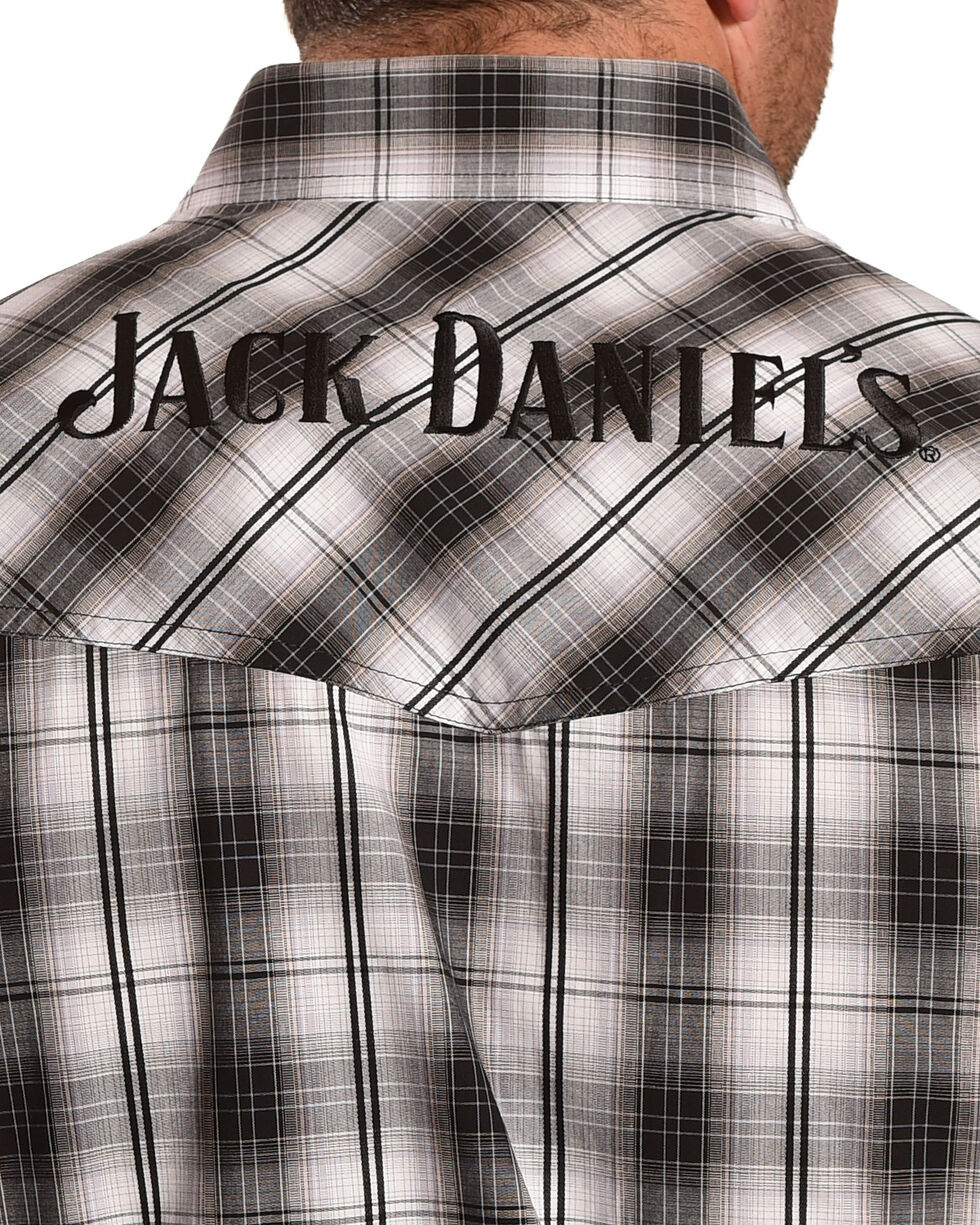Jack Daniel's Men's Black Embroidered Logo Plaid Shirt , Black, hi-res