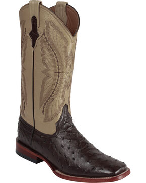 Ferrini Men's Full Quill Ostrich Exotic Western Boots, Chocolate, hi-res