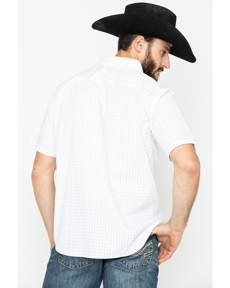 Gibson Men's Dash Geo Print Short Sleeve Western Shirt , White, hi-res