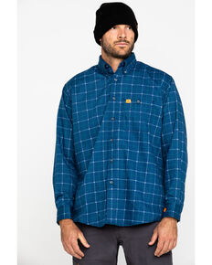 Wrangler Men's Blue 20X Flame Resistant Plaid Shirt - Tall , Blue, hi-res