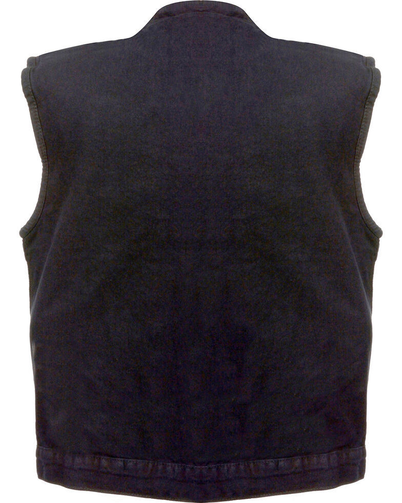 Milwaukee Leather Men's Concealed Snap Denim Club Style Vest, Black, hi-res