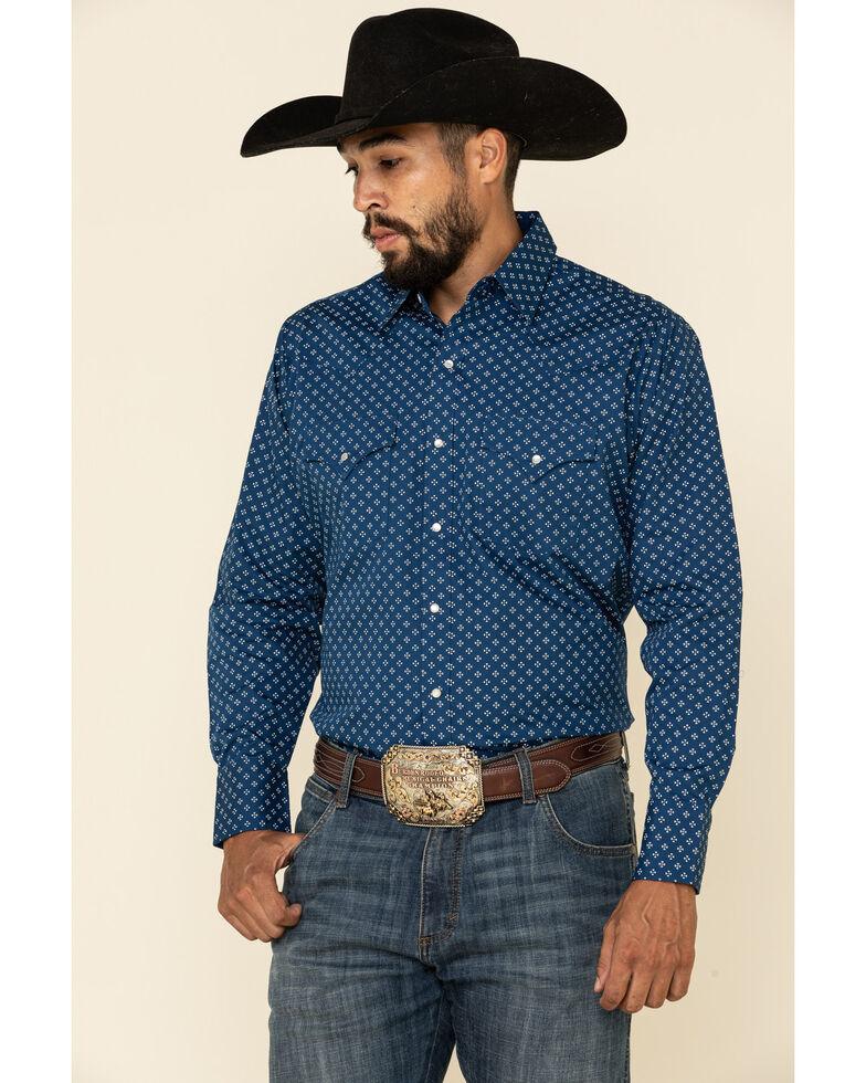 Ely Cattleman Men's Blue Small Geo Print Long Sleeve Western Shirt , Blue, hi-res