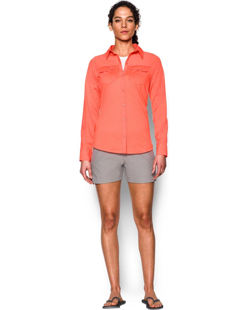 Under Armour Women's Orange Tide Chaser Hybrid Shirt, Orange, hi-res