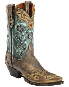 cebd8c44b Dan Post Women s Vintage Blue Bird Snip Toe Western Boots