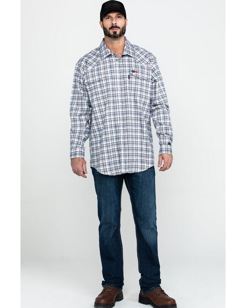 Cinch Men's FR Lightweight Check Print Long Sleeve Work Shirt , White, hi-res
