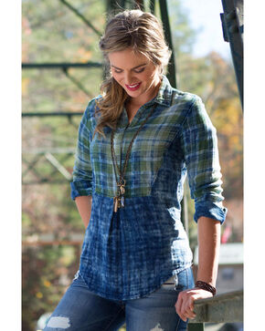 Ryan Michael Women's Indigo Sequoia Plaid Shirt , Indigo, hi-res