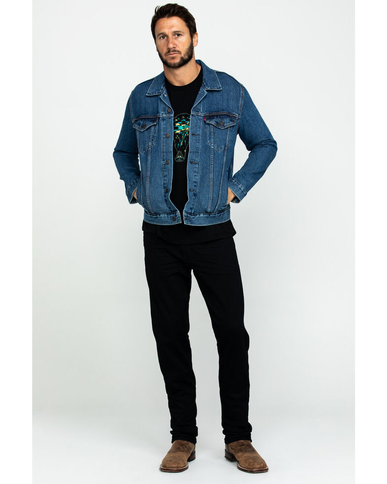 Levis Men's Medium Stonewash Denim Trucker Jacket , Indigo, hi-res