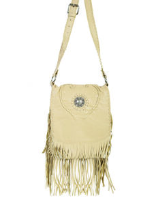 Scully Women's Concho Fringe Leather Handbag, Tan, hi-res