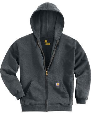 Carhartt Men's Midweight Hooded Zip-Front Sweatshirt, Charcoal Grey, hi-res