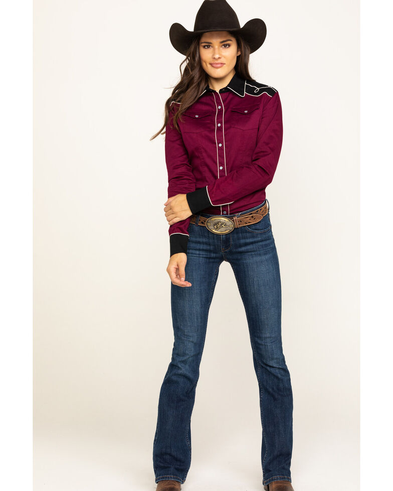 Rock & Roll Cowgirl Women's Retro Embroidered Burgundy Long Sleeve Western Shirt, Burgundy, hi-res