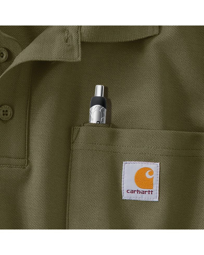 Carhartt Men's Contractor's Work Pocket Pique Polo, Moss, hi-res