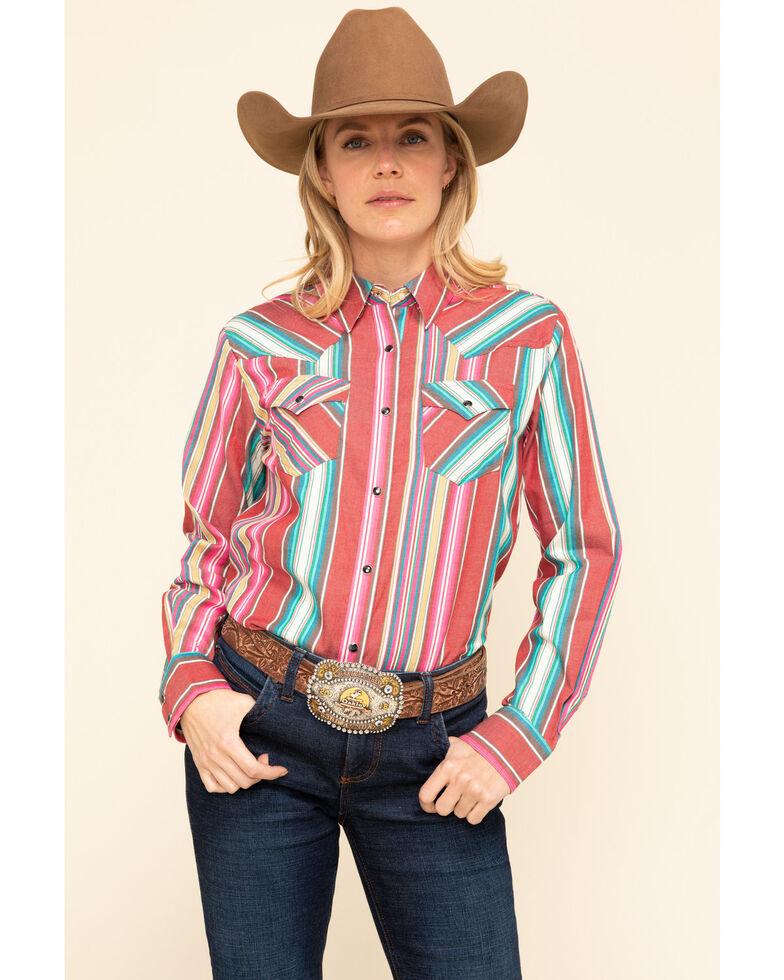 Wrangler Retro Women's Red Serape Snap Long Sleeve Western Shirt, Red, hi-res