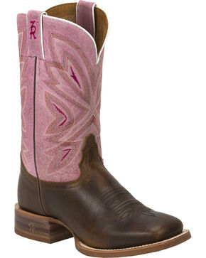 Tony Lama Women's Cuero 3R Stockman Boots, Brown, hi-res