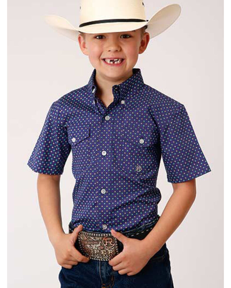 Amarillo Boys' Wildwood Foulard Geo Print Short Sleeve Button-Down Western Shirt , Purple, hi-res